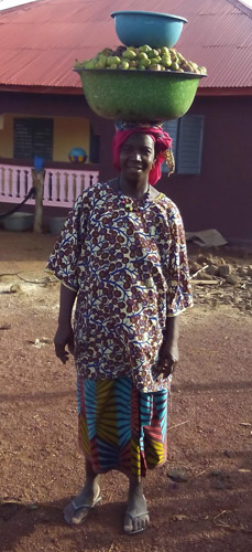 Femme revenant du ramassage des noix de karité